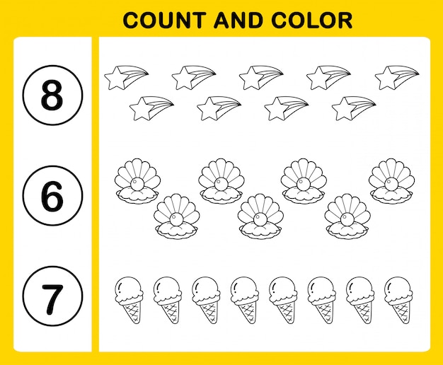 Count and color illustration vector