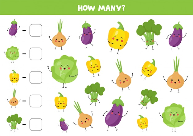 Count cute kawaii vegetables and write down the answer.