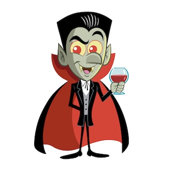Count dracula funny with a glass of blood in his hand