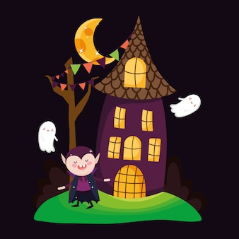 Count dracula house and ghosts halloween