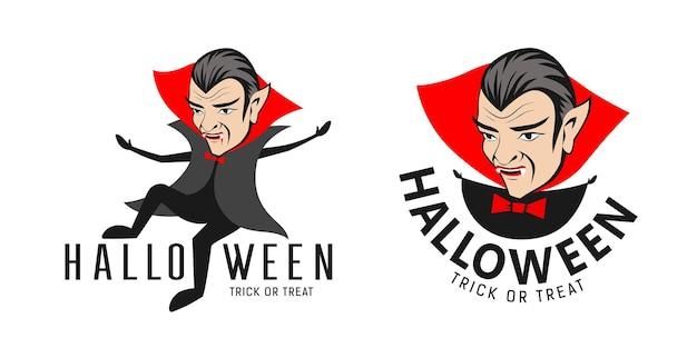 드라큘라 백작 벡터 할로윈 뱀파이어 캐릭터 컬렉션 로고 디자인