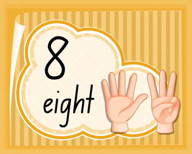 Count eight with hand gesture