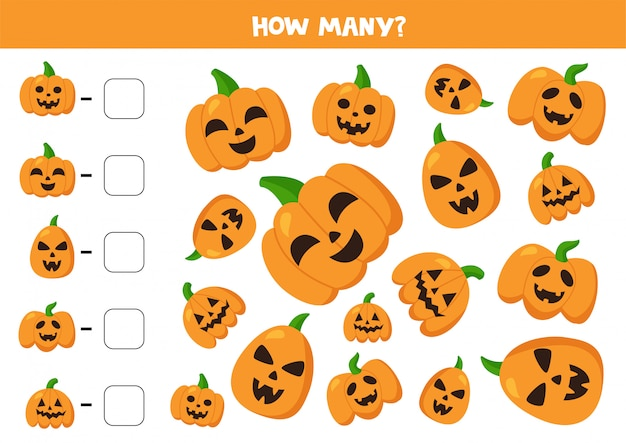 Count halloween pumpkins and write down answers.