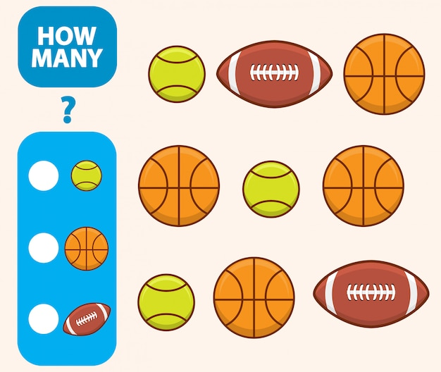 Count how many basketball, tennis ball and american footballs