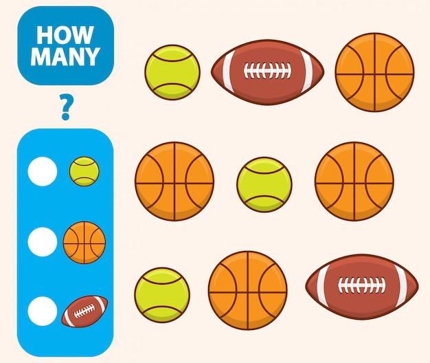 Подсчитайте, сколько баскетбола, теннисного мяча и американского футбола