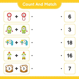 Count and match count the number of baby rattle robot character water gun rocket drum