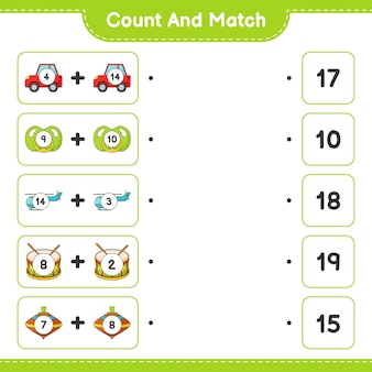 Count and match count the number of car pacifier helicopter drum whirligig toy