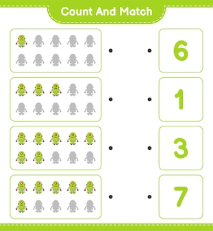 Count and match, count the number of robot character and match with the right numbers.