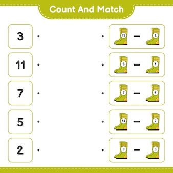 Count and match count the number of rubber boots and match with the right numbers