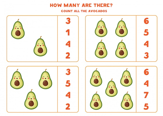 Count the number of avocado fruits. educational worksheet.