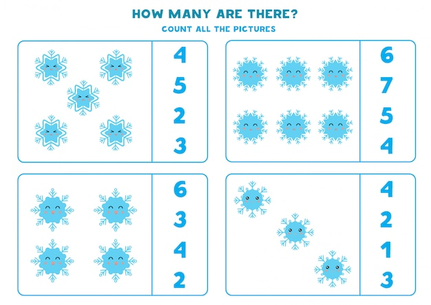 Count the number of cute snowflakes.