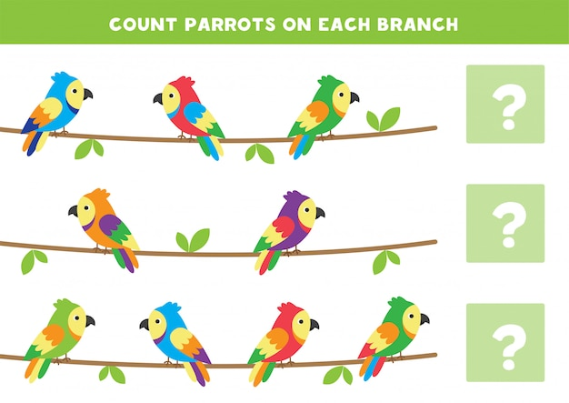 Count the number of parrots on each branch. math game for kids.
