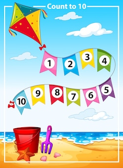 Count number summer beach template