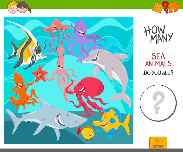 Count the sea animals activity game