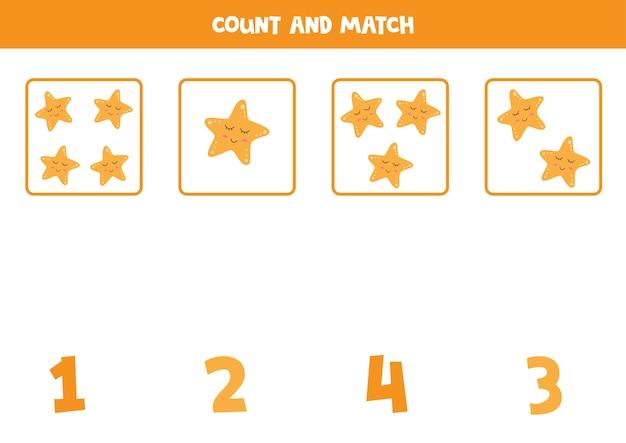 불가사리를 세고 정확한 숫자와 일치시킵니다. 아이들을위한 교육 수학 게임.