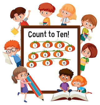 Count to ten number board with many kids doing different activities