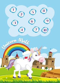Count to ten for preschool in rainbow and unicorn theme background
