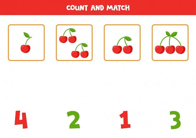 さくらんぼの量を数えて、数字と一致させます。子供のための教育数学ゲーム。未就学児のための印刷可能なワークシート。