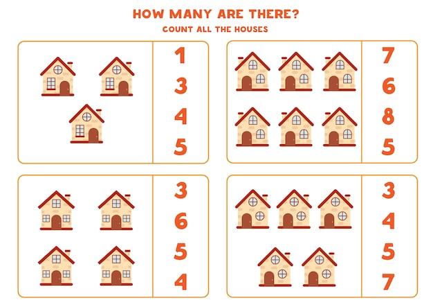 Подсчитайте количество домов развивающая математическая игра для детей Premium векторы