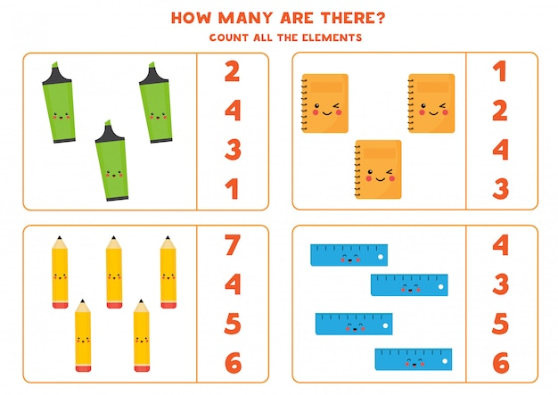 かわいい鉛筆、ノート、蛍光ペン、定規の数を数えます。