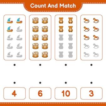 Подсчитайте количество лошадок-качалок с изображением плюшевого мишки и барабанчика и сравните их с правильными числами.