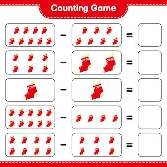 クリスマスソックスの数を数え、結果を書きます