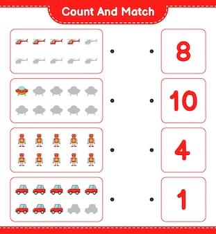Подсчитайте количество машин-роботов-роботов-вертолетов нло и сравните их с правильными числами.