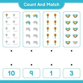 Подсчитайте количество пустышек-погремушек kite water gun baby rattle и сравните их с правильными числами.