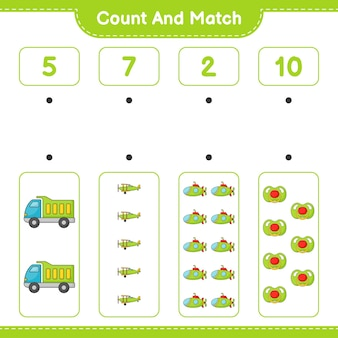 Подсчитайте количество lorry plane submarine pacifier и сравните их с правильными числами.