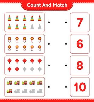 Подсчитайте количество игрушечных воздушных змеев pyramid toy baby rattle и сравните их с правильными числами.