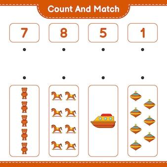 Подсчитайте количество игрушек-качалок в виде плюшевого мишки и сравните их с правильными числами.