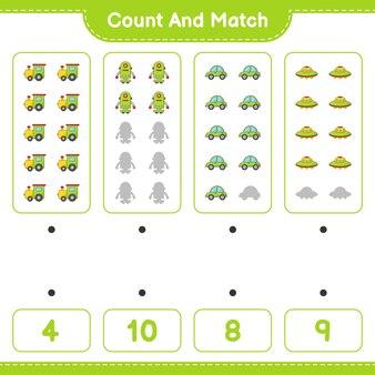 Подсчитайте количество персонажей train robot car ufo и сравните их с правильными числами.