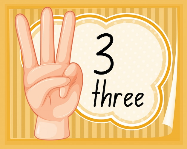 Count three with hand gesture