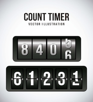 Count timer over gray background vector illustration