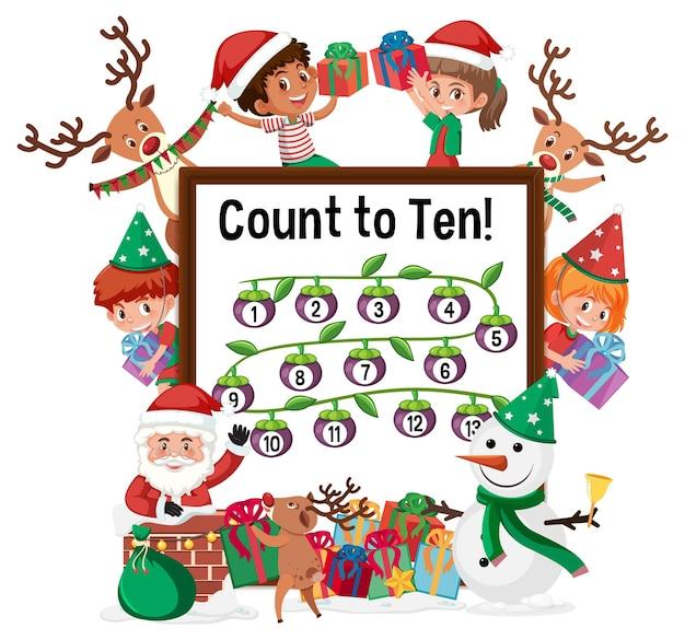 많은 어린이 만화 캐릭터가 있는 10개의 숫자 보드까지 계산