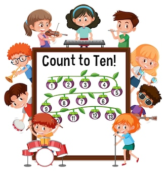 다양한 활동을 하는 많은 아이들과 함께 10개의 숫자 보드를 세십시오.