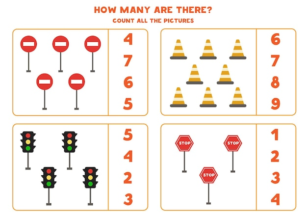 交通標識を数え、正解を丸で囲んでください。子供のための数学のゲーム。