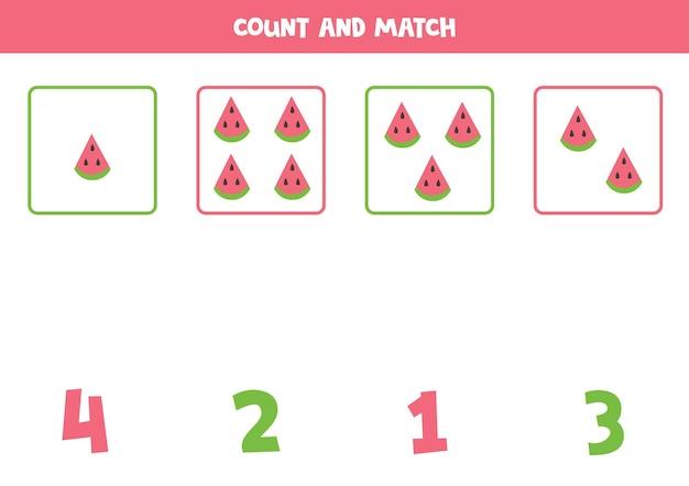 수박 조각을 세고 올바른 숫자와 일치시킵니다. 아이들을 위한 수학 게임.