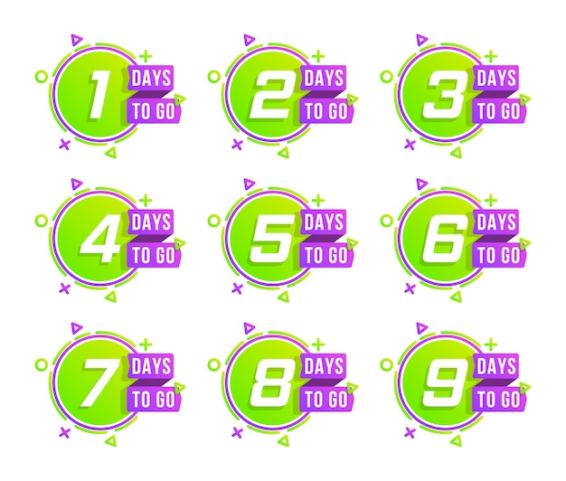 Countdown 1 to 10, days left label or emblem. set of number days to go countdown.