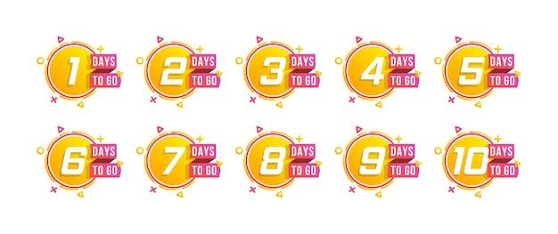カウントダウン1〜10日、ラベルまたはエンブレムが残っています。カウントダウンに行く日数のセット。