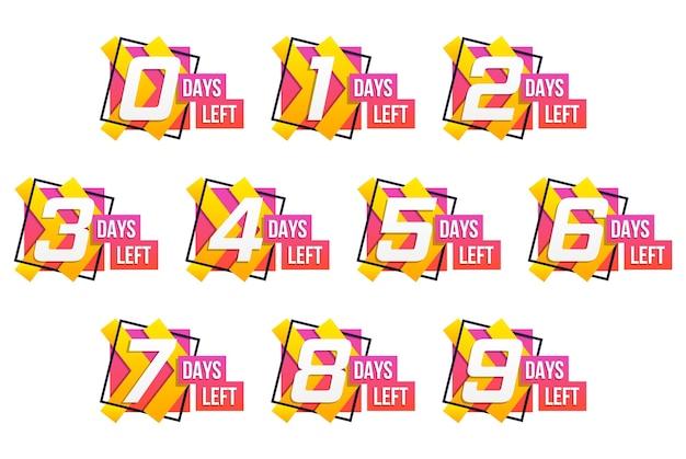 カウントダウン1〜10日、ラベルまたはエンブレムが残っています。カウントダウンの残り時間の数のセット。