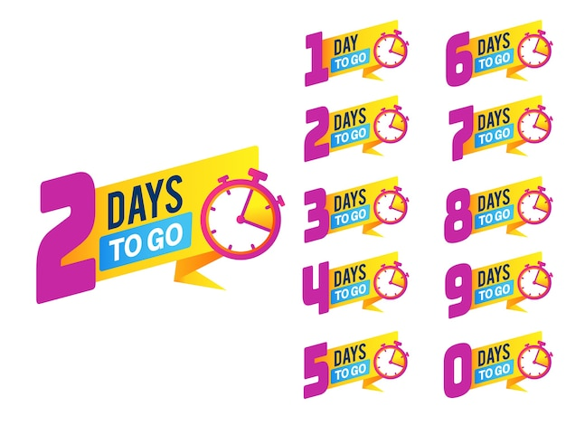 Значки обратного отсчета промо-акция продукта ограниченное количество дней до конца
