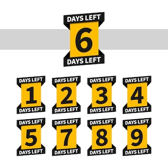 Countdown banners or badges for landing page. one, two, three, four, five, six, seven, eight, nine of days left to go. count time sale. number 1, 2, 3, 4, 5, 6, 7, 8, 9 of days left to go.