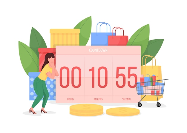 Countdown to black friday flat concept illustration. timer with counting minutes to seasonal sale. woman shopper 2d cartoon character for web design. shopaholism creative idea