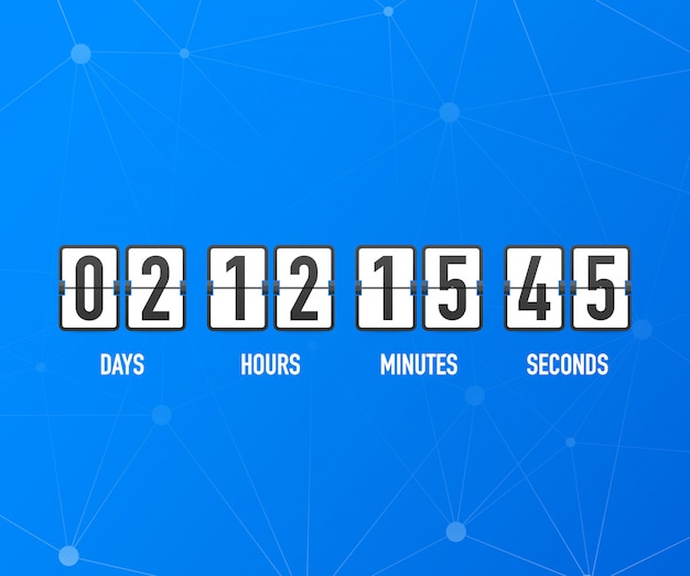 Countdown clock counter timer. ui app digital count down circle board meter with circle time pie diagram. scoreboard of day, hour, minutes and seconds for web page coming soon event template