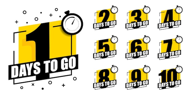 Countdown of days to go set of stickers