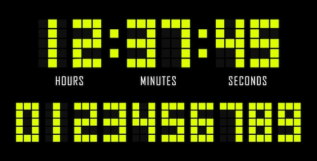 Countdown flat template digital clock timer