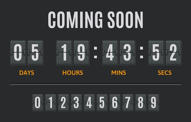 カウントダウンフリップタイマーフリップクロック日時間と分カウンターフリップクロックカウント表示イラストセット