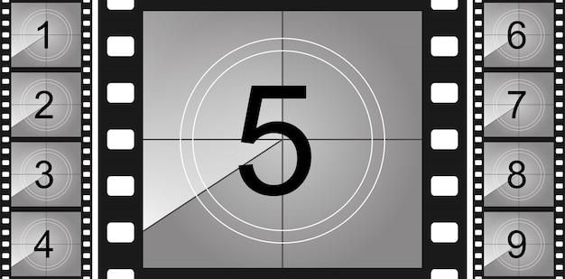 Countdown frame. art design. old film timer count.