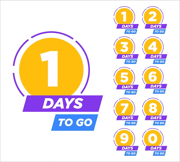 Countdown left days banner. from one to ten.  illustration